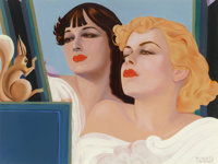 ALBERTO VARGAS (American, 1896-1982) Two Girls with a Squirrel Gouache on board 17 x 23.625 in. (
