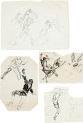 Original Comic Art:Sketches, Al Williamson - Fight Study Sketch Original Art Group (undated)....(Total: 4 Original Art)