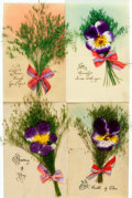 Miscellaneous:Postcards, [Postcards]. Group of Four French Celluloid Postcards. [N.p., n.d.,circa 1910]. ...