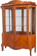 Furniture : French, A Louis XV-Style Glazed Kingwood Vitrine with Bronze Mounts, early20th century. 78-1/2 inches high x 55 inches wide x 16 in...