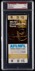 Football Collectibles:Tickets, 1967 Super Bowl I Full Ticket, PSA EX 5 - Only 7 Gold Variation Examples Graded Higher! ...