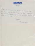 Music Memorabilia:Autographs and Signed Items, Buddy Holly Handwritten Letter....