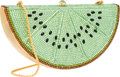 "Luxury Accessories:Accessories, Judith Leiber Full Bead Green & Brown Crystal Kiwi MinaudiereBag. Very Good Condition. 5.5"" Width x 3"" Height x 2""De..."