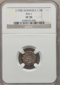 Dominica, Dominica: British Colony Countermarked 1 1/2 Bits ND (1798) VF30NGC,...