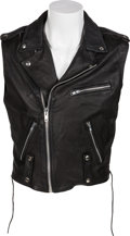 Music Memorabilia:Costumes, Mötley Crüe -- A Mick Mars Black Leather Vest (Circa 1989)....
