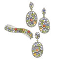 Estate Jewelry:Suites, Multi-Stone, Sterling Silver Jewelry Suite. ...