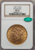 Liberty Double Eagles: , 1891-S $20 MS62 NGC. CAC. NGC Census: (1923/558). PCGS Population (1902/938). Mintage: 1,288,125. Numismedia Wsl. Price for...