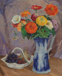 Catharine Carter Critcher (1868-1964) Still Life with Fruit and Flowers Oil on canvas 24 x 20 inc