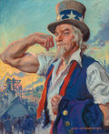 Illustration, James Montgomery Flagg (American, 1877-1960). It's Time to Builda Stronger America, Uncle Sam American Industry advertise...