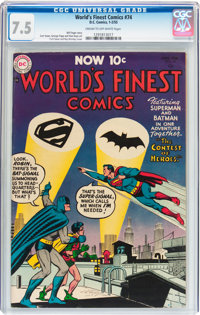World's Finest Comics #74 (DC, 1955) CGC VF- 7.5 Cream to off-white pages