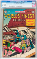 Golden Age (1938-1955):Superhero, World's Finest Comics #67 (DC, 1953) CGC FN/VF 7.0 Off-white to white pages....