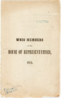 Books:Americana & American History, [Whigs]. Whig Members of the House of Representatives, 1854.[N.p., n.d.]....