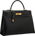 "Luxury Accessories:Bags, Hermes 35cm Black Calf Box Leather Sellier Kelly Bag with GoldHardware . Very Good Condition . 14"" Width x 10""Height..."