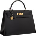 "Luxury Accessories:Bags, Hermes 32cm Black Calf Box Leather Sellier Kelly Bag with GoldHardware. Very Good to Excellent Condition. 12.5""Width..."