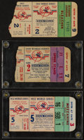 Baseball Collectibles:Tickets, 1947-52 New York Yankees World Series Ticket Stubs Lot of 3....