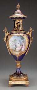 Ceramics & Porcelain, Continental:Antique  (Pre 1900), A Sèvres-Style Bleu-de-Roi Porcelain and Gilt Bronze Covered Urn,late 19th century. Marks: (pseudo Sèvres marks). Signed: ...
