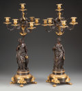 Decorative Arts, French:Lamps & Lighting, A Pair of Patinated and Gilt Bronze Six-Light Figural Candelabra,19th century. 29-1/2 inches high (74.9 cm). ... (Total: 2 Items)