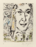 Fine Art - Work on Paper:Print, Marc Chagall (French/Russian, 1887-1985). Autoportrait,1968. Etching with aquatint. 11-3/4 x 9-1/4 inches (29.8 x 23.5 ...