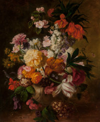 Manner of Pieter Faes (Early 19th Century) Floral Still Life Oil on canvas 30 x 25 inches (76.2 x
