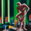 Post-War & Contemporary:Contemporary, Mark Kostabi (American, b. 1960). MTV, 1988. Acrylic oncanvas. 48 x 48 inches (121.9 x 121.9 cm). Signed and dated lowe...