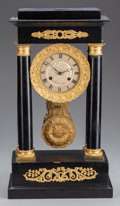 Clocks & Mechanical:Clocks, A Napoleon III Ebonized Wood and Gilt Bronze Temple-Form Mantle Clock, circa 1860. 16-7/8 inches high x 9-1/2 inches wide x ...