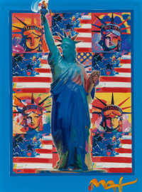 Peter Max (American, b. 1937) God Bless America Acrylic and mixed media on paper 23 x 17-1/2 inch