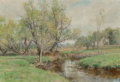 Fine Art - Painting, American:Modern  (1900 1949)  , Olive Parker Black (American, 1868-1948). Along theRiverbend. Oil on canvas. 14 x 20 inches (35.6 x 50.8 cm).Signed lo...