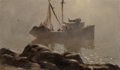 Fine Art - Painting, American:Modern  (1900 1949)  , Rex Brandt (American, 1914-2000). Purse Seiner. Oil oncanvas. 18 x 30 inches (45.7 x 76.2 cm). Signed lower left:Rex...