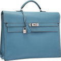 Luxury Accessories:Bags, Hermes Blue Jean Epsom Leather Kelly Depeches PM Briefcase Bag withPalladium Hardware . Good to Very Good Condition . ...