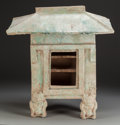 Asian:Chinese, A Chinese Han Dynasty Glazed Earthenware Figural Temple OfferingStand, circa 220 AD. 20-1/4 inches high x 18-1/2 inches wid...