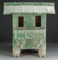 Asian:Chinese, A Han Dynasty Glazed Earthenware Figural Temple Offering Stand,circa 220 AD. 21-3/4 inches high x 20-1/2 inches wide (55.2 ...