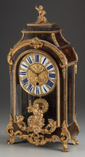 Decorative Arts, French:Other , A Napoleon III Tortoiseshell and Gilt Bronze Figural Mantle Clock,19th century. 25-1/2 inches high x 12-1/2 inches wide (64...