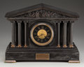 Timepieces:Clocks, A Neoclassical Marble, Slate, and Bronze Temple-Form Mantle Clock,circa 1899. 12-3/4 inches high x 17 inches wide x 6-1/2 i...