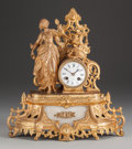 Timepieces:Clocks, A Napoleon III Gilt Bronze, Gilt Metal and Carrera Marble Figural Mantle Clock: Vanity, circa 1865. Marks: (effa...