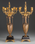 Decorative Arts, French:Lamps & Lighting, A Pair of Barbedienne Greek Revival Patinated and Gilt BronzeSix-Light Urn-Form Candelabra, Paris, France, late 19th centur...(Total: 2 Items)