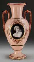 Decorative Arts, French:Other , A French Painted Opaline Glass Urn, 19th century. 21-1/4 inches high (54.0 cm). PROPERTY FROM THE COLLECTION OF CONNIE WIL...