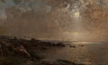Fine Art - Painting, European:Antique  (Pre 1900), Alfred Wahlberg (Swedish, 1834-1906). Nocturnal Seascape.Oil on canvas laid on panel. 10-1/4 x 16-1/4 inches (26.0 x 41...
