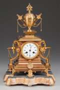 Decorative Arts, French:Other , A French Napoleon III Gilt Bronze Chiming Mantle Clock, circa 1870.16 inches high x 10-3/4 inches wide (40.6 x 27.3 cm). ...