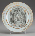 Asian:Chinese, A Chinese Export Grisaille Porcelain Marriage Commemoration Plate,circa 1750. 9 inches diameter (22.9 cm). ...