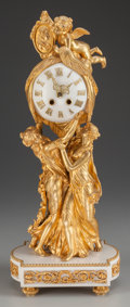 Decorative Arts, French:Other , A French Gilt Bronze Figural Clock, circa 1870. 20-1/2 inches highx 9 inches wide x 5 inches deep. Marks: 1855 MEDAILLE D'A...