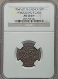 Netherlands East Indies, Netherlands East Indies: Westfriesland copper Duit 1756 AU58 BrownNGC,...