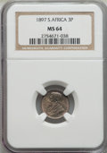 South Africa: Republic 3 Pence 1897 MS64 NGC