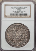 Azores, Azores: Portuguese Colony Counterstamped 1200 Reis ND (1887) XF45NGC,...