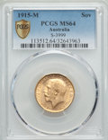 Australia, Australia: George V gold Sovereign 1915-M MS64 PCGS,...
