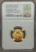 Ancients:Byzantine, Ancients: Basil I the Macedonian (AD 867-886), with Constantine. AVsolidus (4.33 gm)....