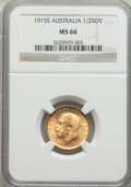 Australia, Australia: George V gold 1/2 Sovereign 1915-S MS66 NGC,...