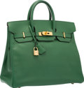 Luxury Accessories:Bags, Hermes 32cm Vert Bengale Courchevel Leather HAC Birkin Bag withGold Hardware . Very Good to Excellent Condition .12....