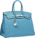 """Luxury Accessories:Bags, Hermes 35cm Blue Jean Clemence Leather Birkin Bag with Palladium Hardware. Excellent Condition. 14"""" Width x 10"""" Height..."""