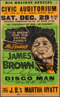"Music Memorabilia:Posters, James Brown ""The Original Disco Man"" 1973 Concert Poster for the Civic Auditorium in Grand Rapids, Michigan, in Framed Display..."