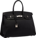 "Luxury Accessories:Bags, Hermes 35cm Black Togo Leather Birkin Bag with Palladium Hardware .Very Good Condition . 14"" Width x 10"" Height x 7"" ..."